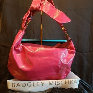 Hot Pink Bow hobo with gold hardware nwot